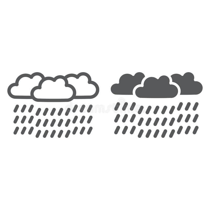 Het de zware regenlijn en glyph pictogram, het weer en de meteorologie, raincloud ondertekenen, vectorafbeeldingen, een lineair p royalty-vrije illustratie