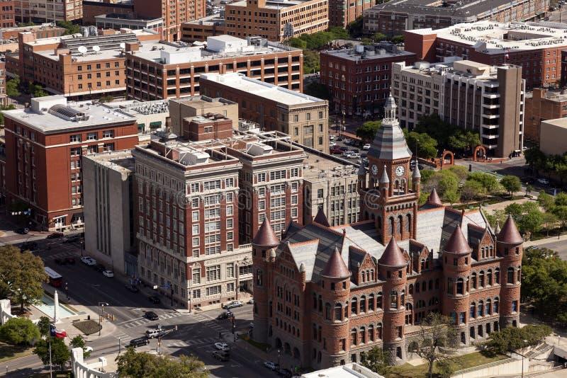 Het Dealy-Plein en de omringende gebouwen in Dallas stock foto's