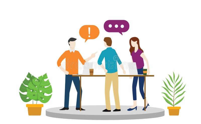 Het debat of het argument van het teambureau over iets met boze emotie of hete situatie royalty-vrije illustratie