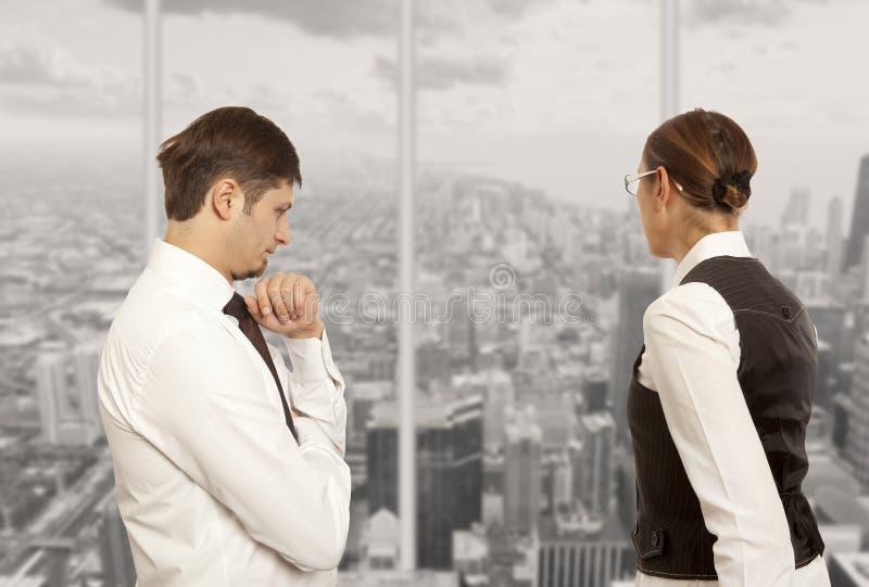 Het debatteren, conflict, bedrijfsconcept stock foto