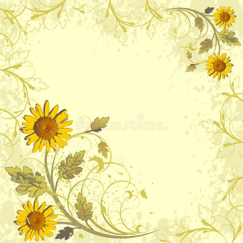 Het decor van bloemen op grungeachtergrond stock illustratie