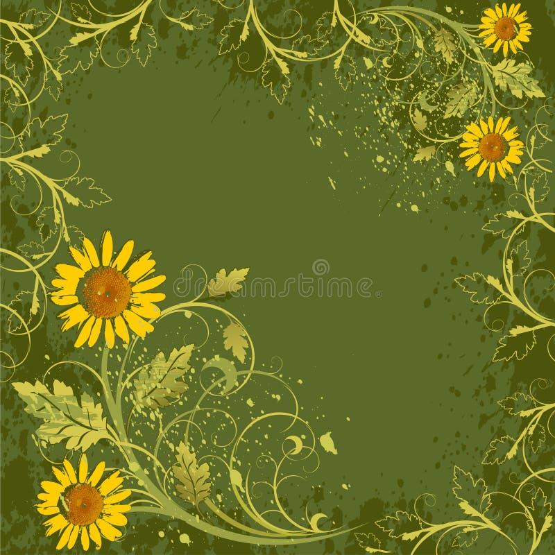 Het decor van bloemen op grungeachtergrond vector illustratie