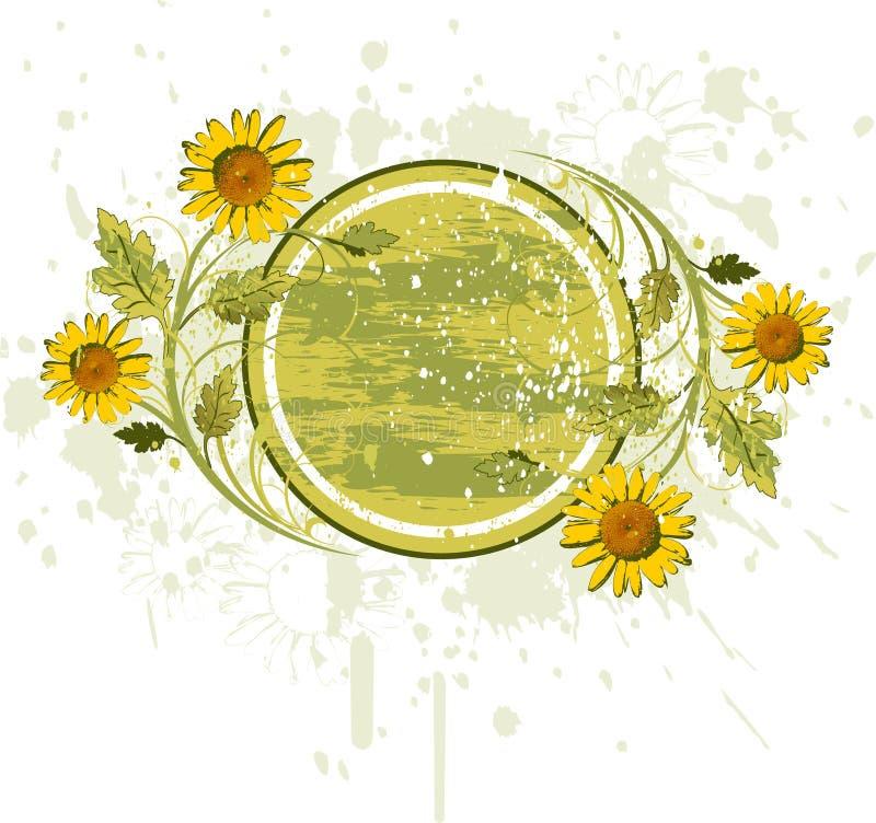 Het decor van bloemen op grungeachtergrond royalty-vrije illustratie