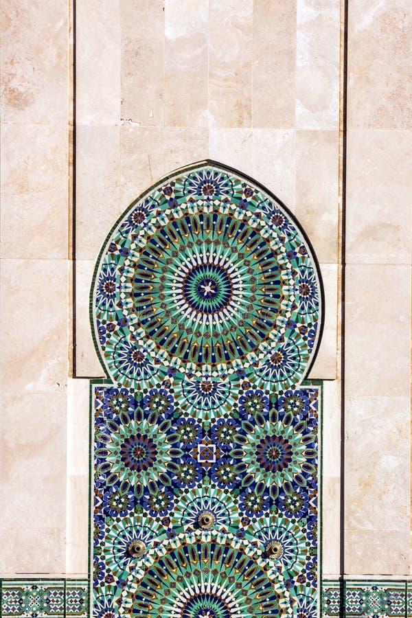 Het decor van Casablanca in Marokko Decoratie van Moskee Hassan II royalty-vrije stock foto