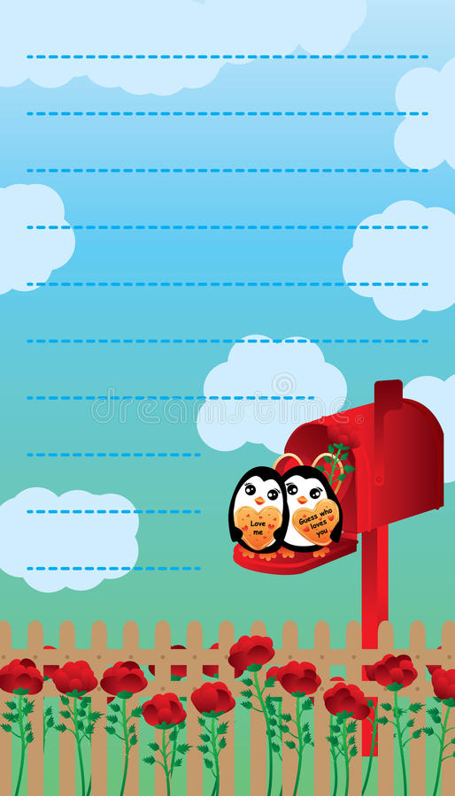 Het decor van de de brievenpinguïn van de liefdebrievenbus royalty-vrije illustratie