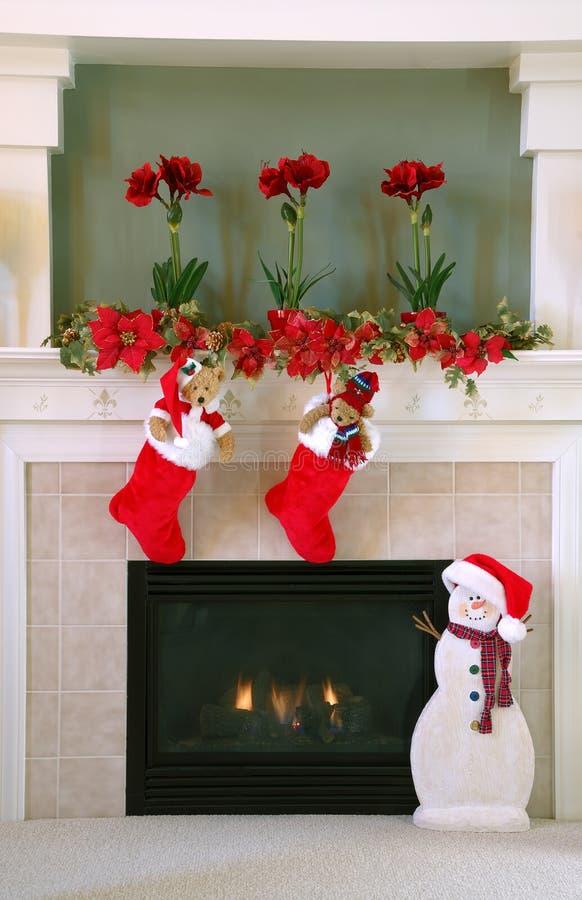 Het Decor van Kerstmis thuis stock foto