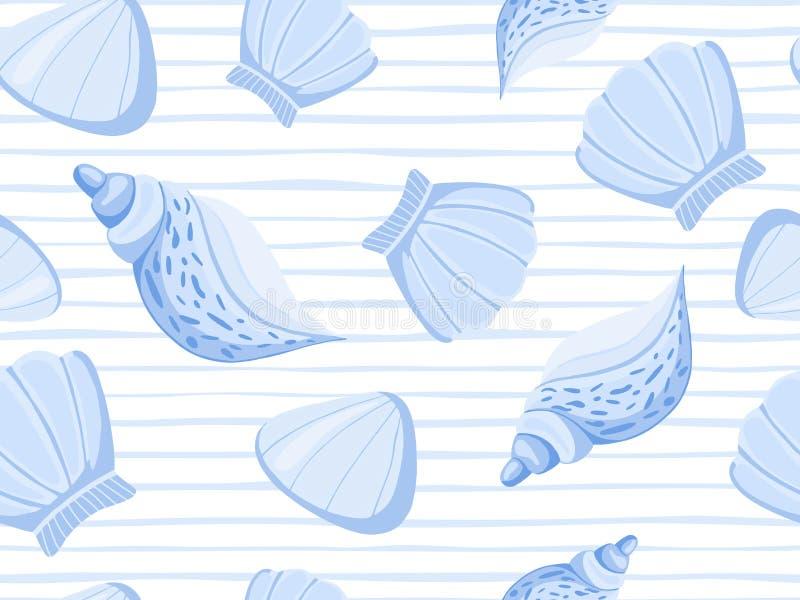 Het decoratieve blauwe naadloze patroon van de zeeschelpenstreep royalty-vrije illustratie