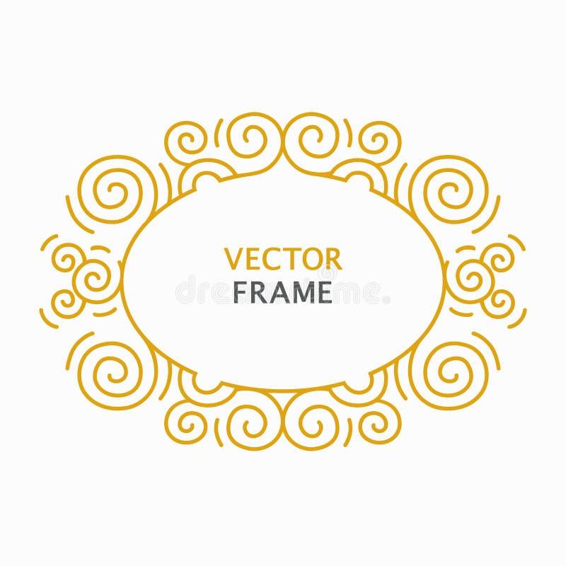 Het decoratieve gouden kader met exemplaarruimte voor tekst maakte in de moderne vector van de lijnstijl stock illustratie