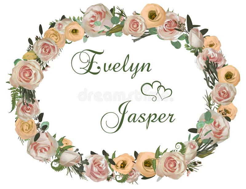 Het decoratieve gouden ovale kader en de achtergrond met roze roze bloemen, eustomaroom, brunia, groene varen, eucalyptus, vertak stock illustratie