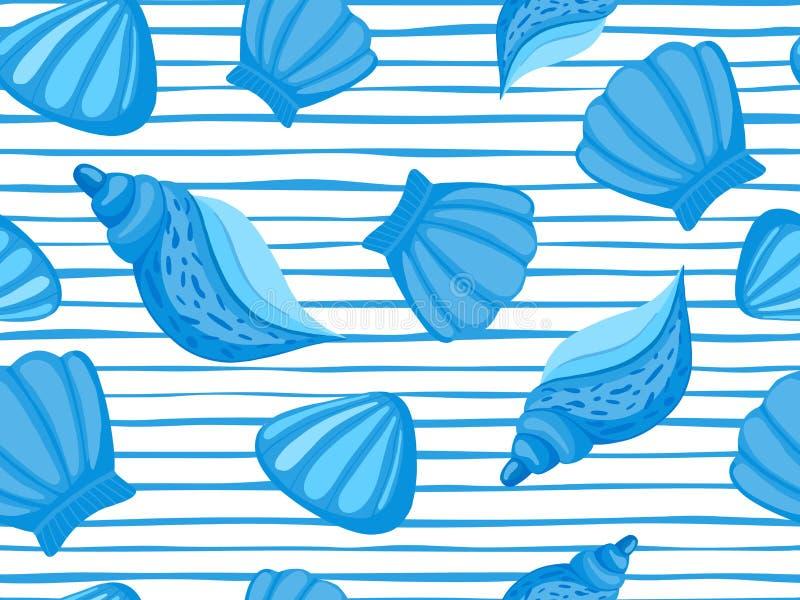 Het decoratieve naadloze patroon van de zeeschelpenstreep Abstract marien behang royalty-vrije illustratie