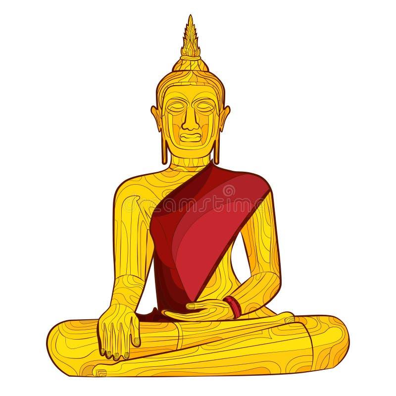 Het decoratieve standbeeld van Boedha stock illustratie