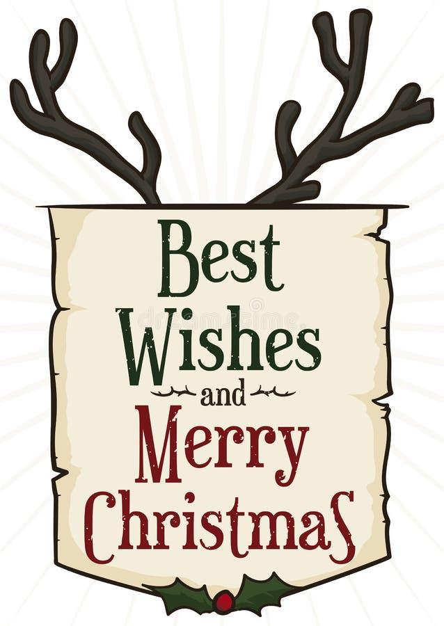 Het decoratieve Teken van de Kerstmisgroet met Rendierhoornen, Vectorillustratie stock illustratie