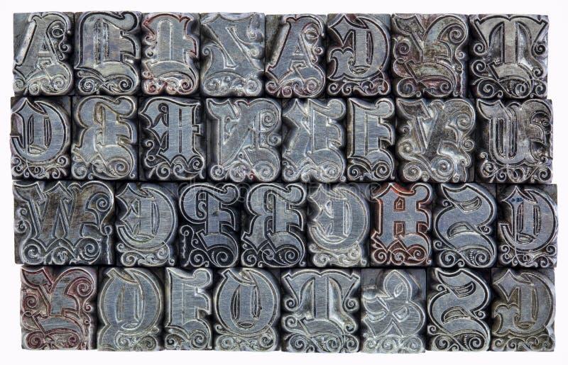Het decoratieve type van metaalletterzetsel stock foto