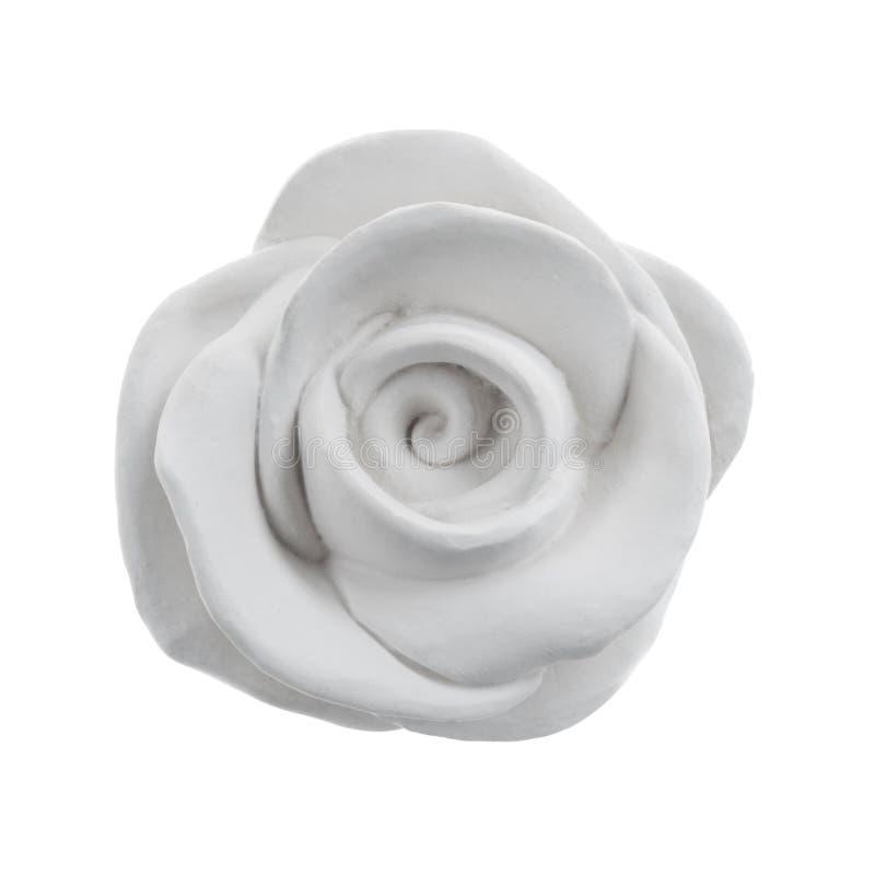 Het decoratieve witte gips nam geïsoleerd toe stock afbeeldingen