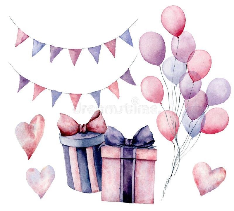 Het decorreeks van de waterverfverjaardag De hand schilderde giftdozen met linten, vlagslingers, luchtballons op wit worden geïso stock illustratie