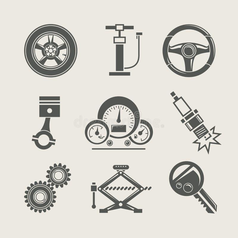 Het deelreeks van de auto van reparatiepictogram vector illustratie