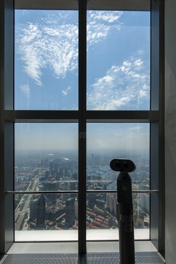 Het Dek van de Observatie SWFC, Shanghai stock afbeeldingen