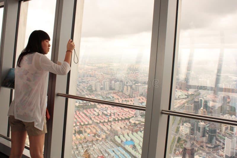 Het Dek van de observatie van SWFC in Shanghai royalty-vrije stock fotografie