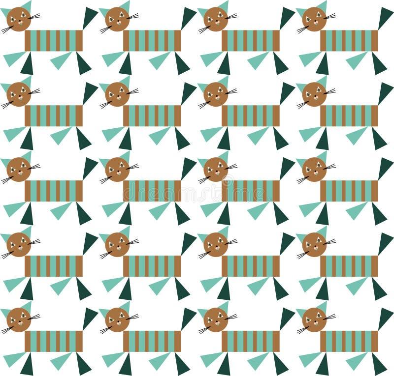 Het dekbed vector naadloos van het jong geitjelapwerk met geometrische katten en eenvoudige geometrische vormen Het ontwerp van h vector illustratie