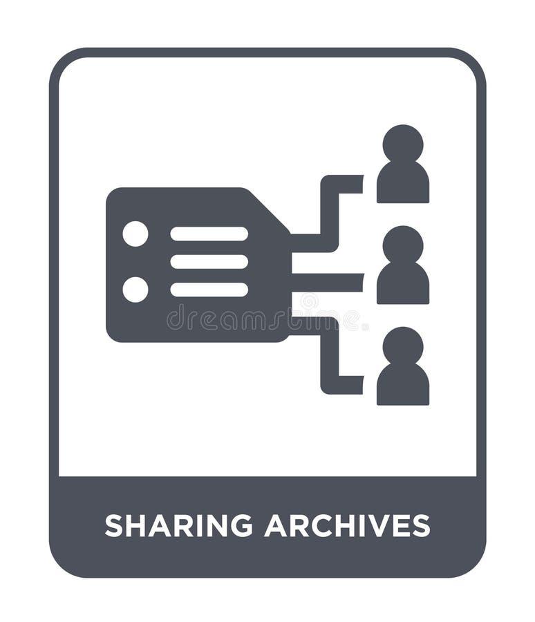 het delen van archievenpictogram in in ontwerpstijl delend archievenpictogram op witte achtergrond wordt geïsoleerd die het delen vector illustratie