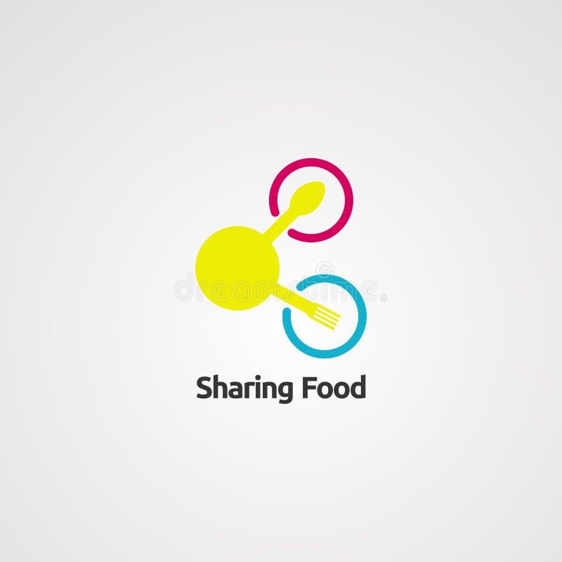 Het delen van de vector, het pictogram, het element, en het malplaatje van het voedselembleem royalty-vrije illustratie