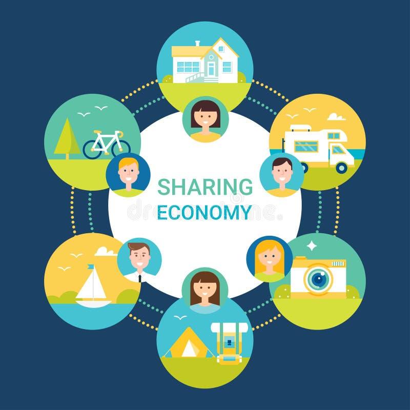 Het delen van Economie Vectorillustratie Mensen en Objecten Pictogrammen royalty-vrije illustratie