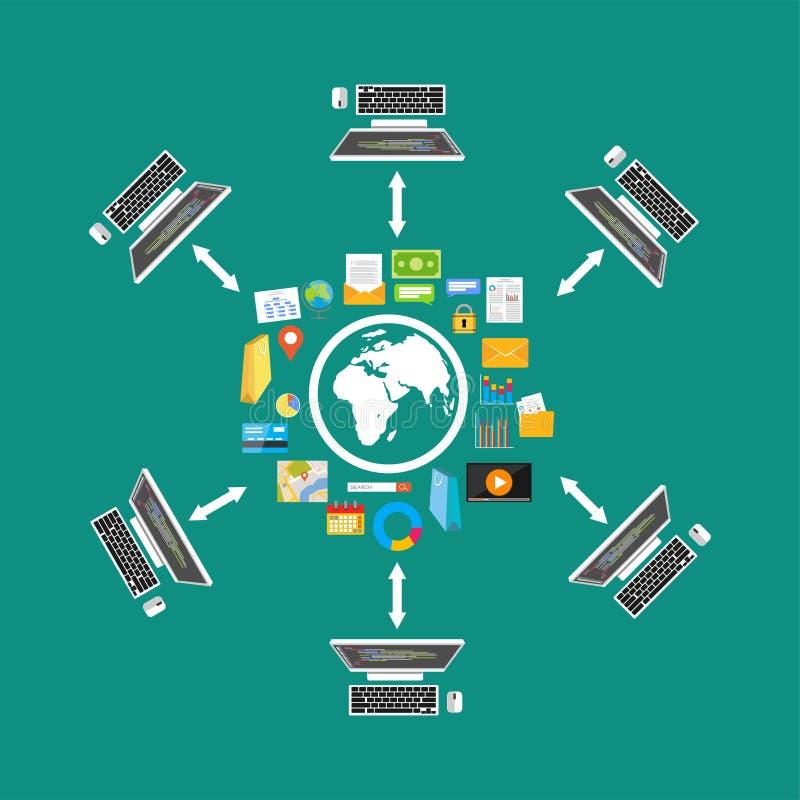 Het Delen van het dossier De overdracht van het dossier Netwerk Verdeelde inhoud smartphone surft op wolk in hemel Connectiviteit royalty-vrije illustratie
