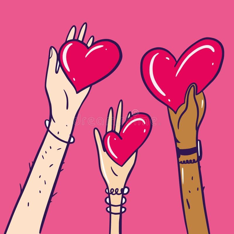 Het delen van hoop Liefdadigheid en Schenking Ge?soleerd op roze achtergrond royalty-vrije illustratie