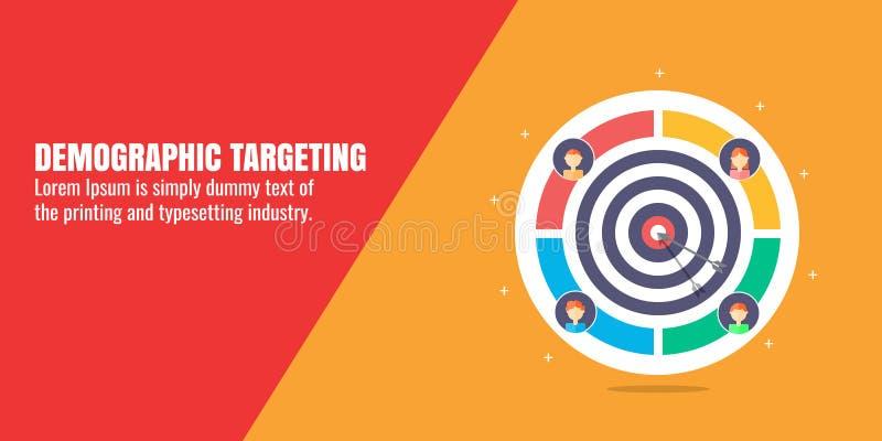 Het demografische richten, digitale marketing voor verschillende leeftijden van klanten, publiek de bouwstrategie, doel marketing vector illustratie