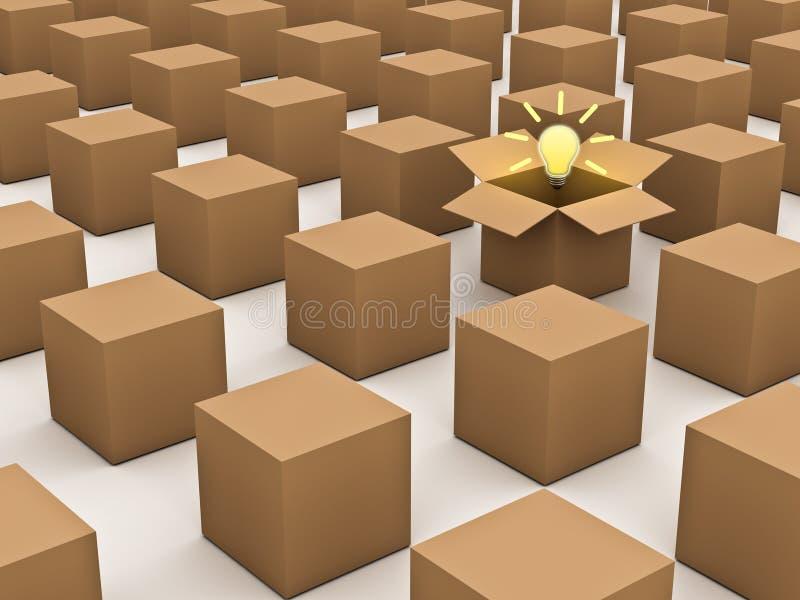 Het denken buiten het doos en individualiteitsconcept royalty-vrije illustratie