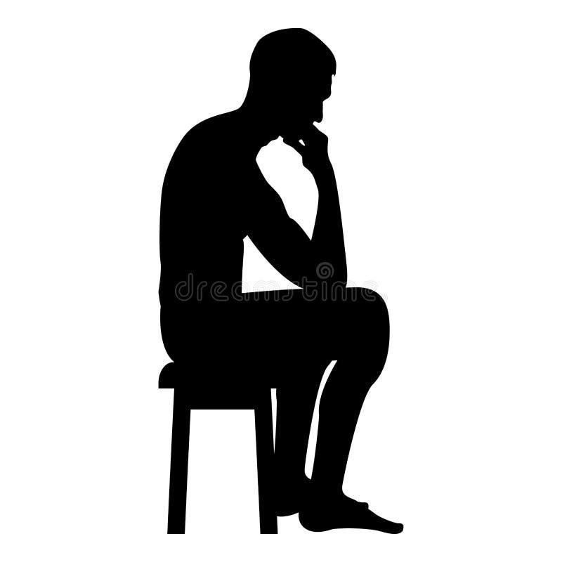 Het denken mensenzitting op een illustratie van de het pictogram zwarte kleur van het kruksilhouet royalty-vrije illustratie