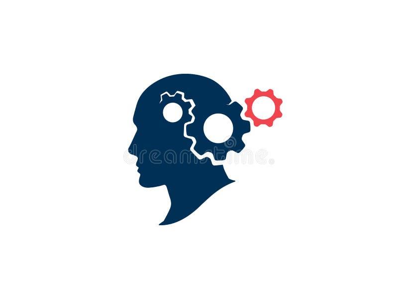 Het denken proces vectorillustratie Silhouet menselijk hoofd met toestellen Strategisch het denken en planningsconcept vector illustratie