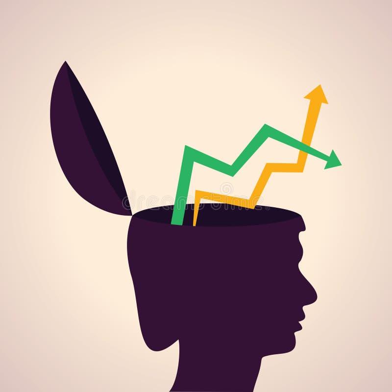 Het denken van concept-menselijk hoofd met boven en beneden pijl stock illustratie