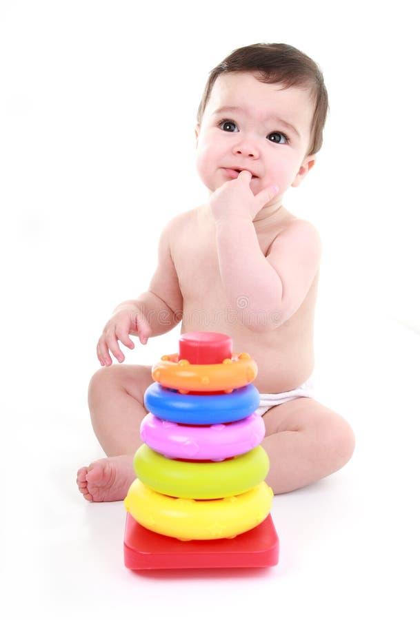 Het denken van de baby stock fotografie