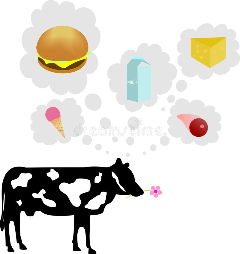 Het denken van de koe vector illustratie