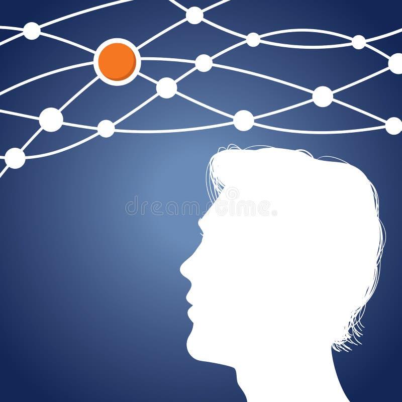 Het Denken van de mens aan een idee vector illustratie