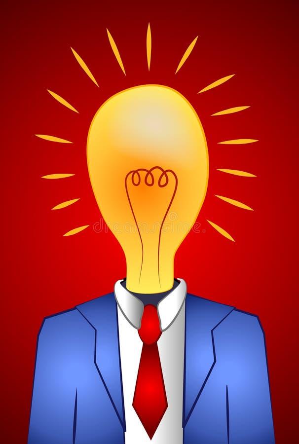 Het Denken van de Mens van Lightbulb Ideeën vector illustratie