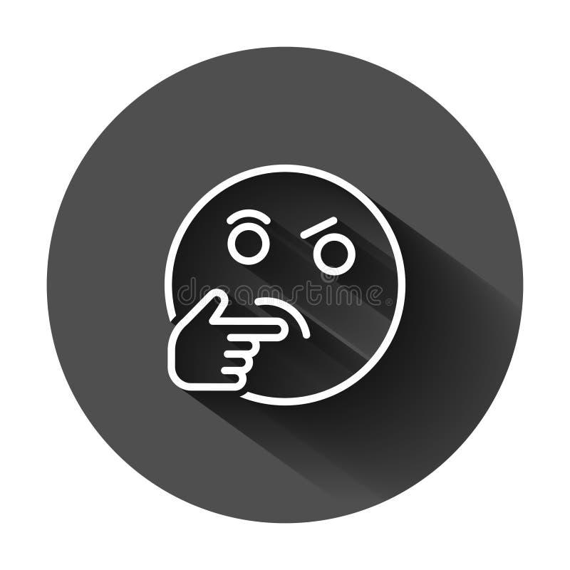 Het denken van gezichtspictogram in vlakke stijl Glimlach emoticon vectorillustratie op zwarte ronde achtergrond met lange schadu stock illustratie