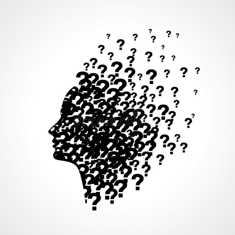 Het denken van mensensilhouet met gedachte vector illustratie