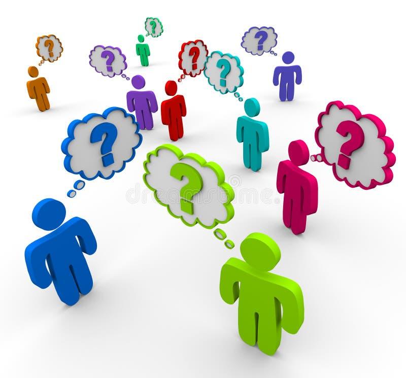 Het Denken van vele Mensen aan Vragen vector illustratie