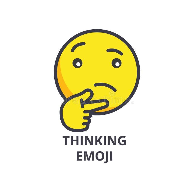 Het denkende pictogram van de emoji vectorlijn, teken, illustratie op achtergrond, editable slagen stock illustratie