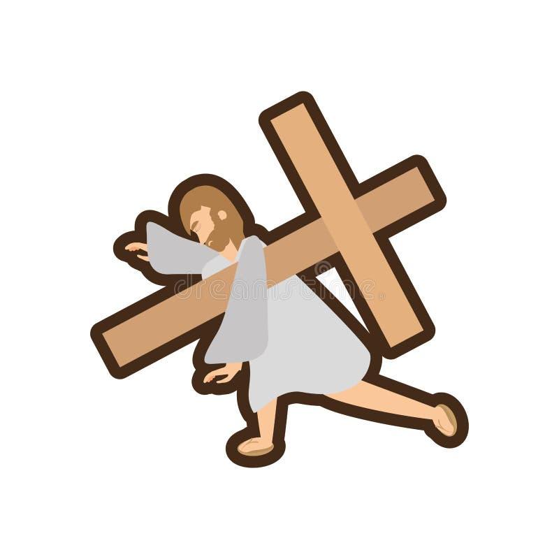 het derde van Jesus-Christus valt lijn royalty-vrije illustratie