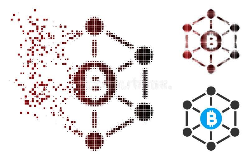 Het desintegrerende Pictogram van de Financiënnetwok van Pixel Halftone Bitcoin vector illustratie