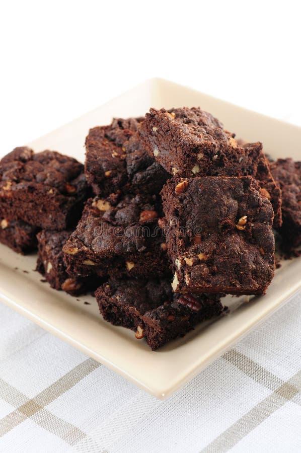Het dessert van Brownies stock afbeeldingen