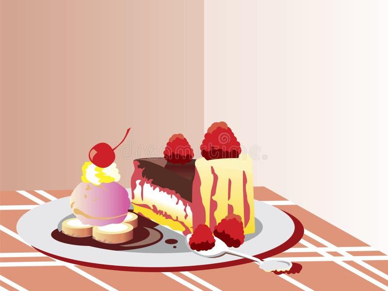 Het Dessert van de Cake van de chocolade stock illustratie