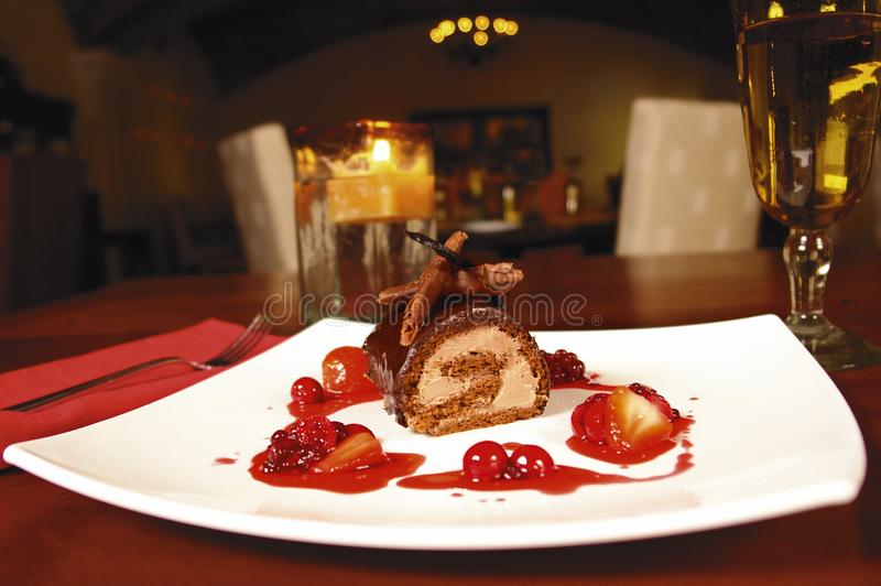 Chocoladedessert royalty-vrije stock afbeelding