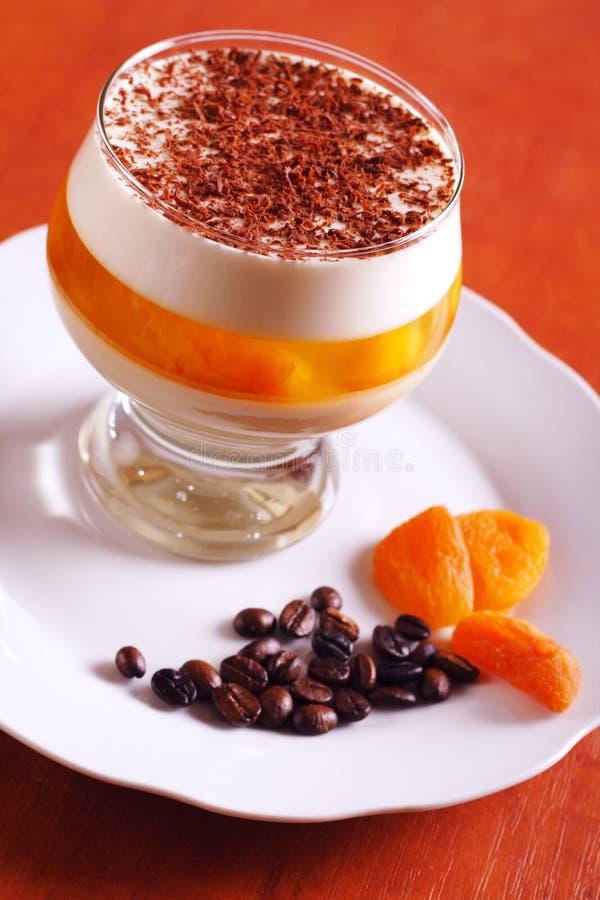 Het dessert van de gelatine met chocolade, room en gelei stock afbeelding
