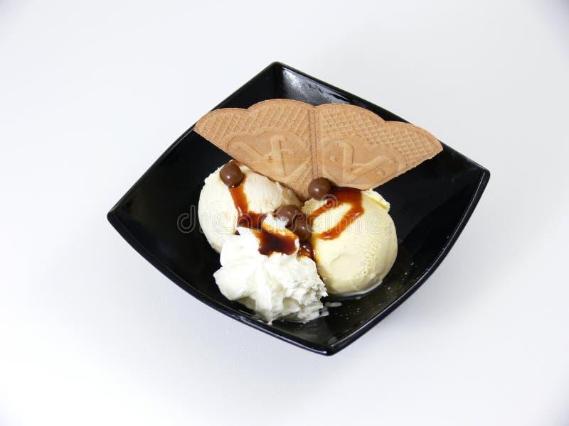 Het Dessert van het vanilleroomijs stock foto
