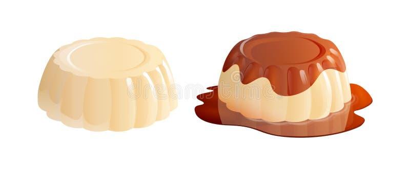Het dessert van Pannacotta met en zonder karamelsaus vector illustratie