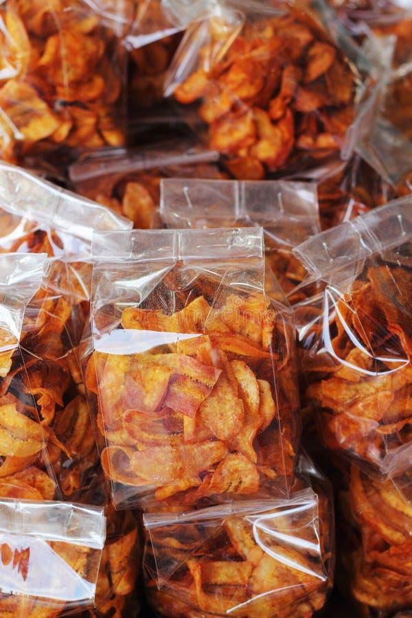 Het dessert van Thailand - banaanspaanders. stock foto's
